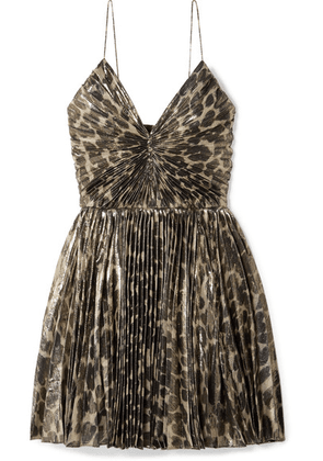 SAINT LAURENT - Pleated Leopard-print Silk-blend Lamé Mini Dress - Leopard print