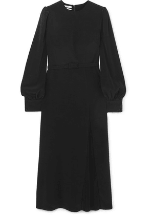 Co - Belted Pleated Crepe Midi Dress - Black