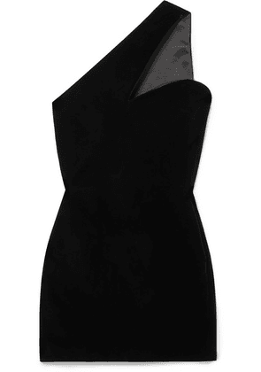 SAINT LAURENT - One-shoulder Velvet Mini Dress - Black