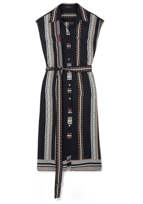 Derek Lam - Belted Printed Silk Midi Dress - Black