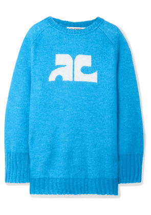 COURREGES - Intarsia Knitted Sweater - Azure