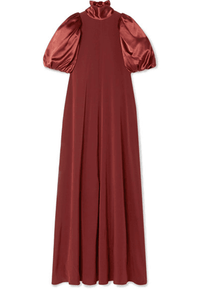 Co - Satin And Crepe Maxi Dress - Burgundy