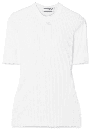 COURREGES - Ribbed Cotton Top - White