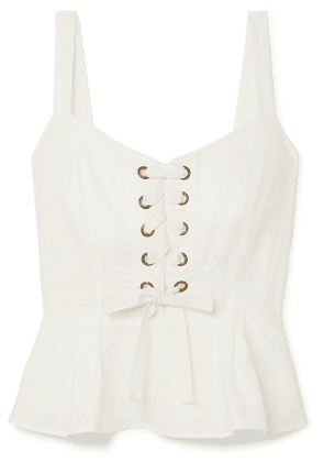 J.Crew - Ransu Lace-up Linen And Cotton-blend Camisole - Ivory