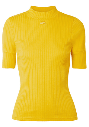COURREGES - Ribbed Stretch-cotton Top - Yellow