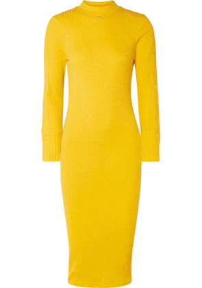 COURREGES - Ribbed Stretch-cotton Dress - Yellow