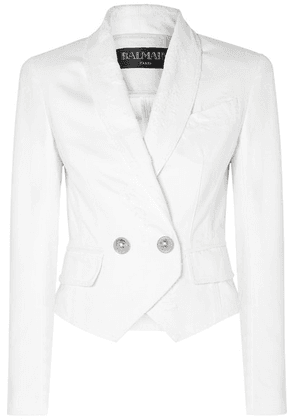 Balmain - Button-embellished Double-breasted Distressed Denim Jacket - White
