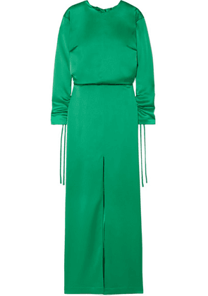 Cédric Charlier - Open-back Ruched Satin Gown - Emerald