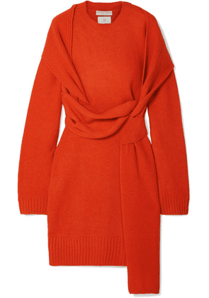 Bottega Veneta - Belted Wool Dress - Orange