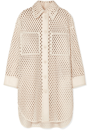 Fendi - Oversized Laser-cut Leather Jacket - Ivory