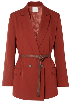 forte forte - Belted Double-breasted Twill Blazer - Brick
