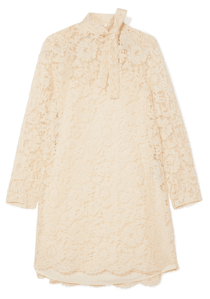 Valentino - Pussy-bow Corded Lace, Tulle And Crepe De Chine Mini Dress - Ivory