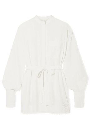 Co - Belted Crepe De Chine Shirt - Ivory