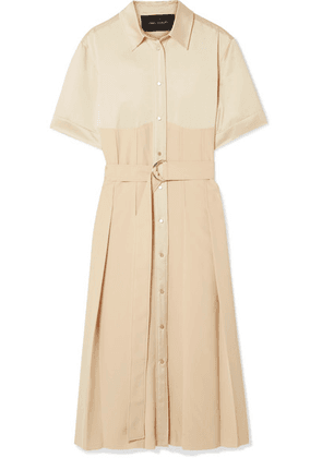 Cédric Charlier - Belted Pleated Satin And Crepe Midi Dress - Cream