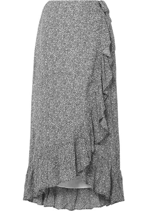 Anine Bing - Lucky Ruffled Printed Crepe Wrap Skirt - Anthracite
