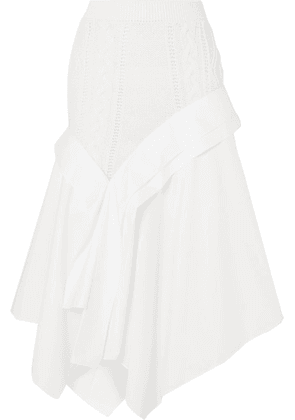 Loewe - Asymmetric Cable-knit Wool And Cotton-poplin Midi Skirt - White