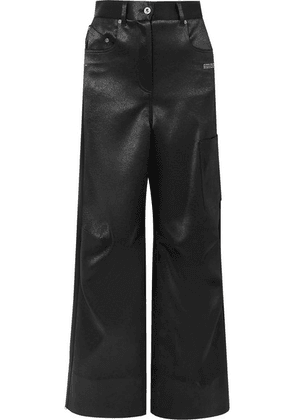 Off-White - Printed Duchesse-satin Pants - Black