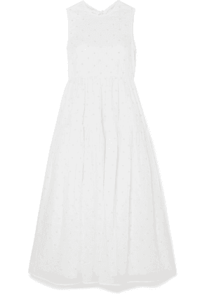 Cecilie Bahnsen - + Sophie Bille Brahe Beaded Tiered Cotton-organdy Midi Dress - Ivory