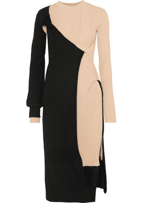 Bottega Veneta - Two-tone Draped Ribbed-knit Dress - Black