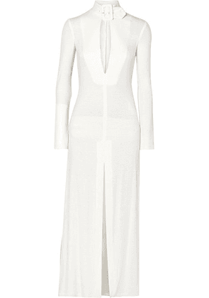 Attico - Buckled Cutout Sequined Crepe Dress - White