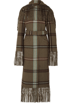 Salvatore Ferragamo - Belted Fringed Checked Flannel Coat - Army green