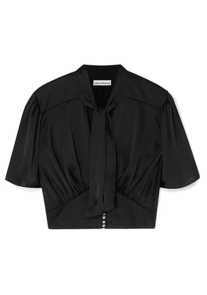 Paco Rabanne - Cropped Crystal-embellished Pussy-bow Satin Blouse - Black