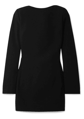 SAINT LAURENT - Open-back Bow-embellished Wool-crepe Mini Dress - Black