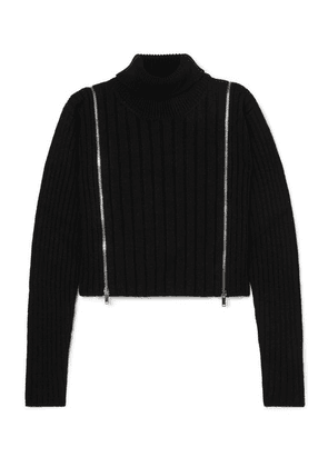 Palm Angels - Cropped Zip-detailed Ribbed Wool-blend Turtleneck Sweater - Black