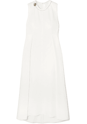 Victoria Beckham - Embellished Pleated Stretch-cady Midi Dress - White