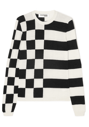 COURREGES - Checked Knitted Sweater - White