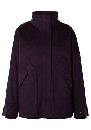 Loro Piana - Convertible Leather-trimmed Cashmere And Quilted Shell Coat - Grape