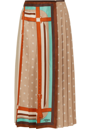 Fendi - Crochet-paneled Pleated Printed Silk-satin Wrap Skirt - Beige