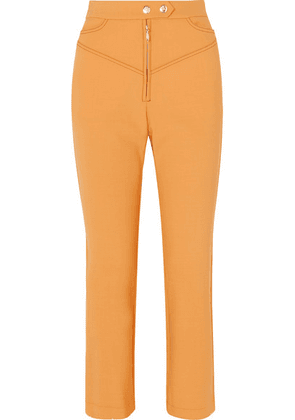 Ellery - Orthodox Cropped Studded Cady Flared Pants - Yellow
