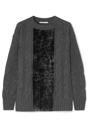 Agnona - Paneled Cable-knit Cashmere And Shearling Sweater - Dark gray