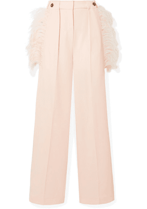 Cédric Charlier - Feather-trimmed Wool-twill Wide-leg Pants - Pastel pink