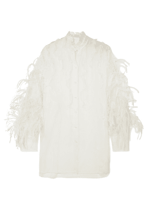 Valentino - Feather-trimmed Ruffled Silk-organza Blouse - Ivory