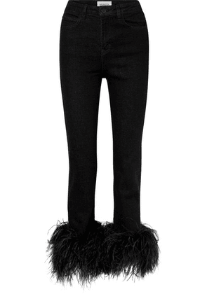 16ARLINGTON - Feather-trimmed High-rise Straight-leg Jeans - Black