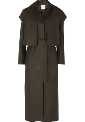 Agnona - Leather Trench Coat - Army green