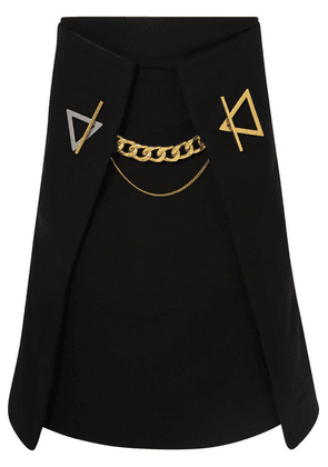 Bottega Veneta - Chain-embellished Cashmere-gabardine Skirt - Black