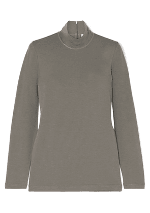 Brunello Cucinelli - Bead-embellished Stretch-cotton Jersey Turtleneck Top - Green