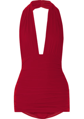Norma Kamali - Bill Ruched Halterneck Swimsuit - Red