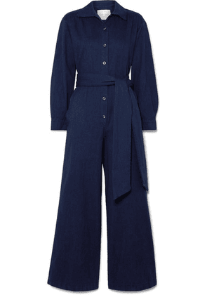 King & Tuckfield - Belted Denim Jumpsuit - Storm blue