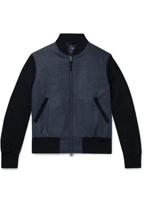 Golden Bear - The Player Suede-panelled Melton Wool Bomber Jacket - Blue
