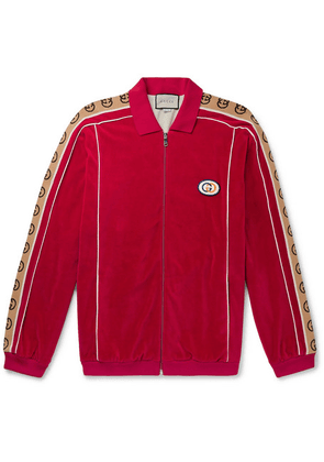 Gucci - Oversized Logo-appliquéd Webbing-trimmed Piped Velvet Track Jacket - Red