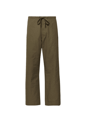 Chimala - Cropped Wide-leg Cotton And Linen-blend Twill Drawstring Trousers - Army green