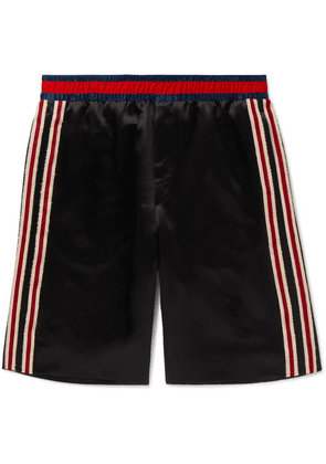 Gucci - Wide-leg Webbing-trimmed Embroidered Satin Shorts - Black