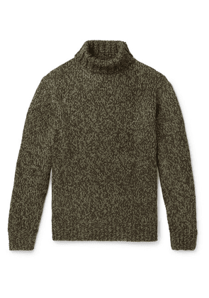 Camoshita - Mélange Knitted Rollneck Sweater - Green