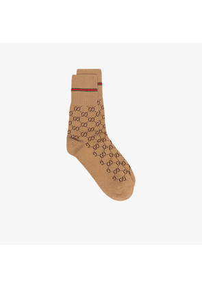 Gucci Brown GG cotton socks with Web