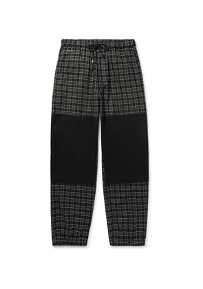 Flagstuff - Tapered Poplin-panelled Checked Cotton-twill Drawstring Trousers - Black
