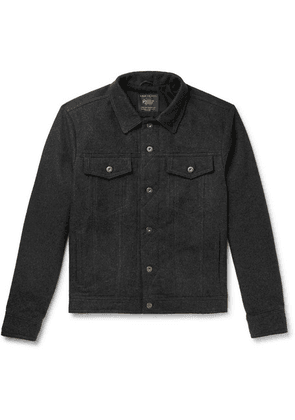 Golden Bear - The Holden Leather-trimmed Cotton-flannel Jacket - Charcoal